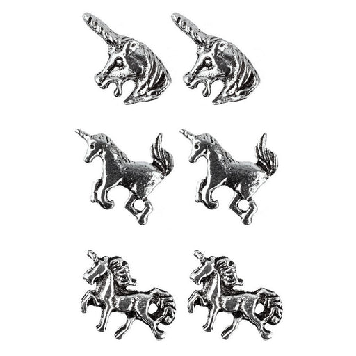 925 Solid Sterling Silver Unicorn Stud Earrings In Three Designs - bigigloo.co.uk  - 1