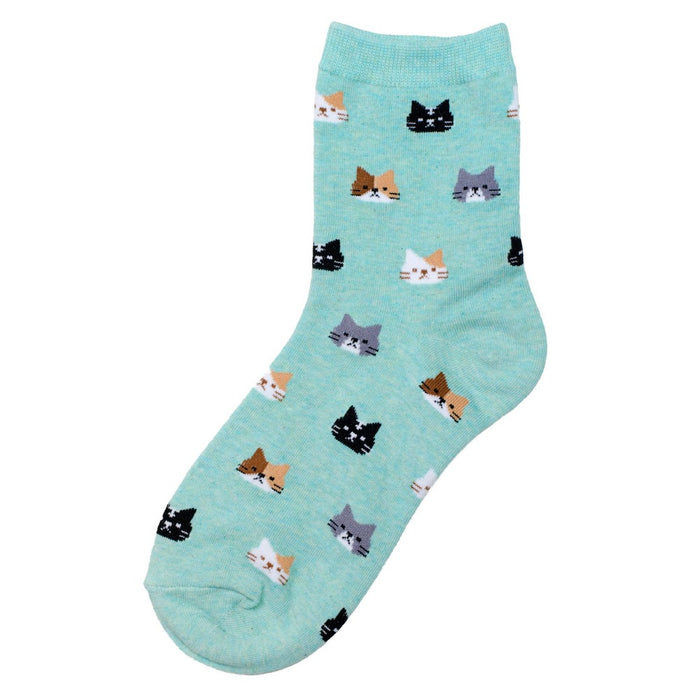 Women's Green Cat Face Icon Socks. UK Size 4-7.5-Euro 35-38-US 6-9.5.
