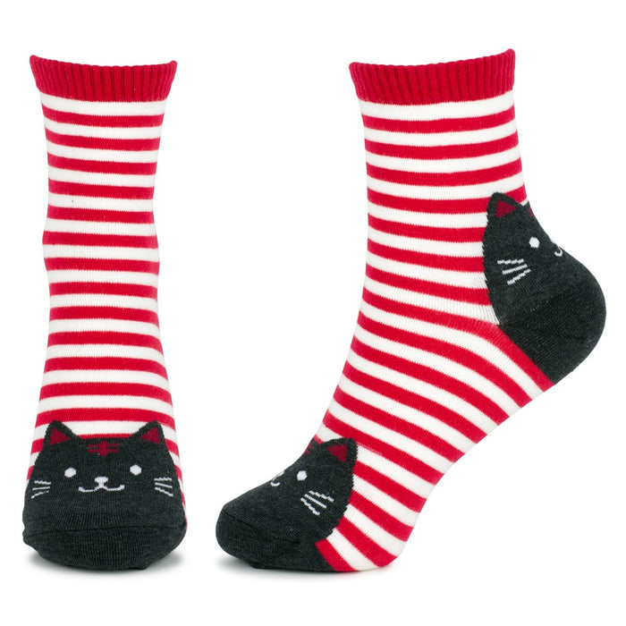 Women's Stripey Cat Face Socks. UK Size 4-7.5-Euro 35-38-US 6-9.5.