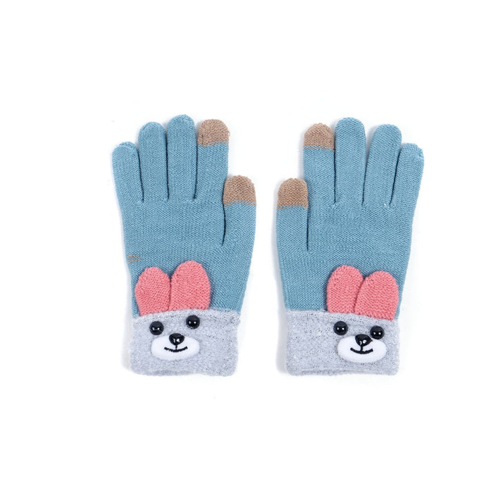 Bunny Rabbit Cuff Gloves.  One Size For Teens/Women. Touchscreen Friendly.