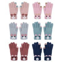Teddy Bear Touchscreen Gloves.  One Size. 100% Acrylic