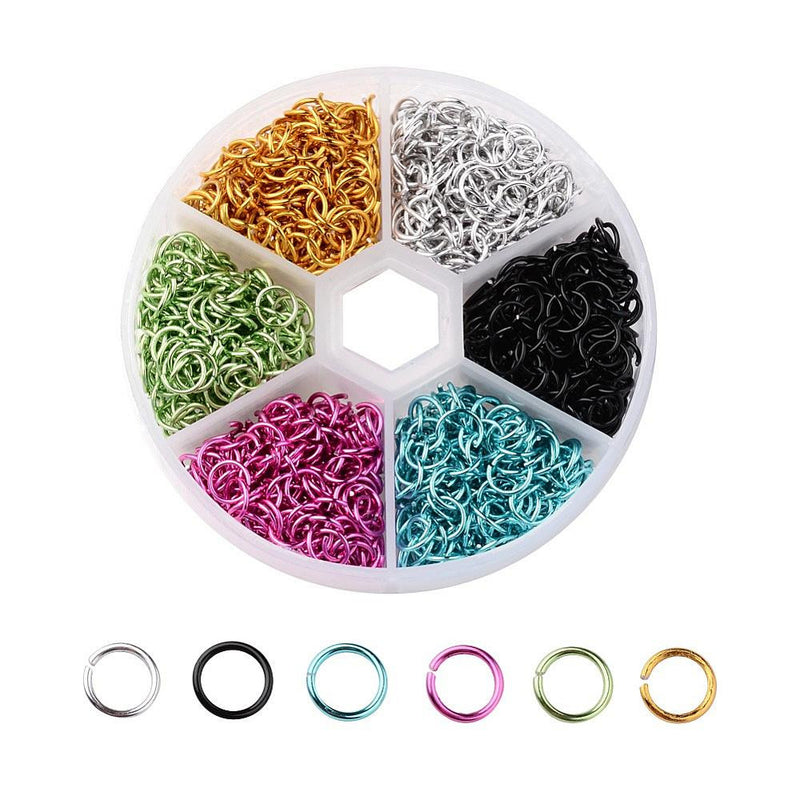 1,000+ Alu Coloured Open 6mm Jump Rings Silver, Black, Blue, Pink, Green, Yellow