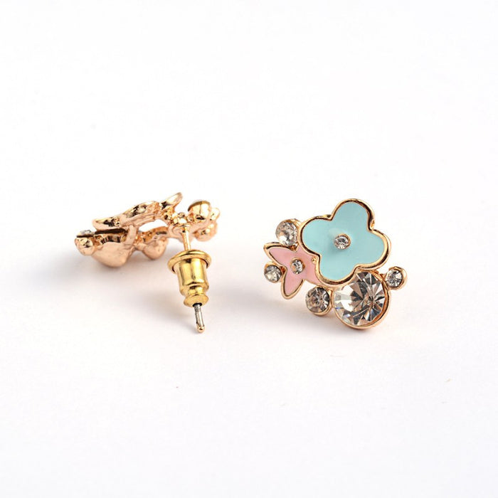 Pink And Green Rose Gold Plated Stud Earrings With Crystals - bigigloo.co.uk
