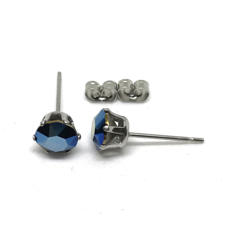 6mm Stainless Steel Stud Earrings. Genuine Xirius Crystals By Swarovski. Boxed.