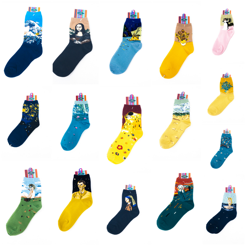 Womens' Art Masterpiece Socks-20+ Designs. Van Gogh, Monet, Manet, Renoir, Da Vinci And More