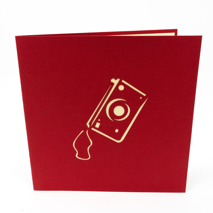 Handmade Pop Up Greetings Card-Camera. 15 x 15cm.