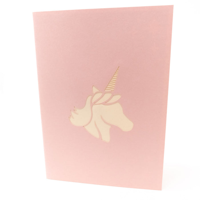 Handmade Pop Up Greetings Card-Unicorn & Rainbow. 10 x 15cm.