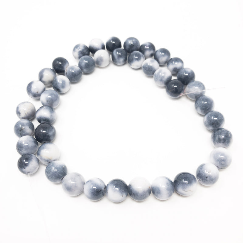 Real White Round Jade Beads. Dyed. 6mm, 8mm, 10mm.  Full Strand