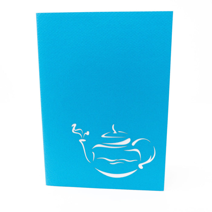 Handmade Pop Up Greetings Card-Teapot. 10 x 15cm
