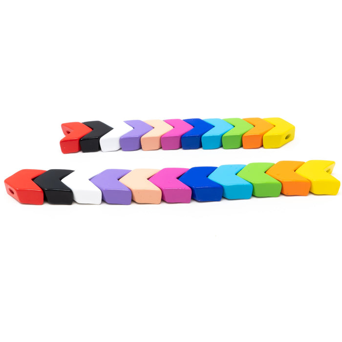 5 x Enamel Metal Tile Beads-Various Colours.  Arrows/Chevrons-0.95cm or 1.2cm