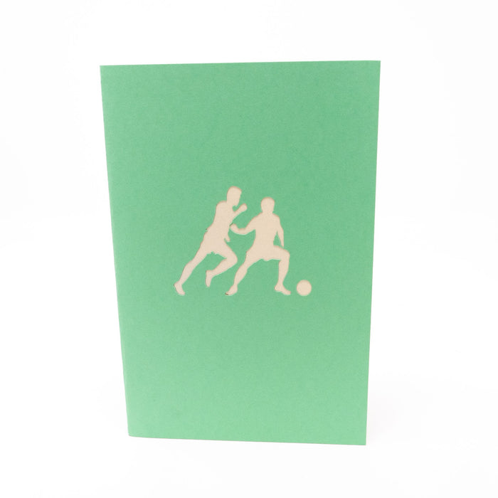 Handmade Pop Up Greetings Card-Football Match. 10 x 15cm.