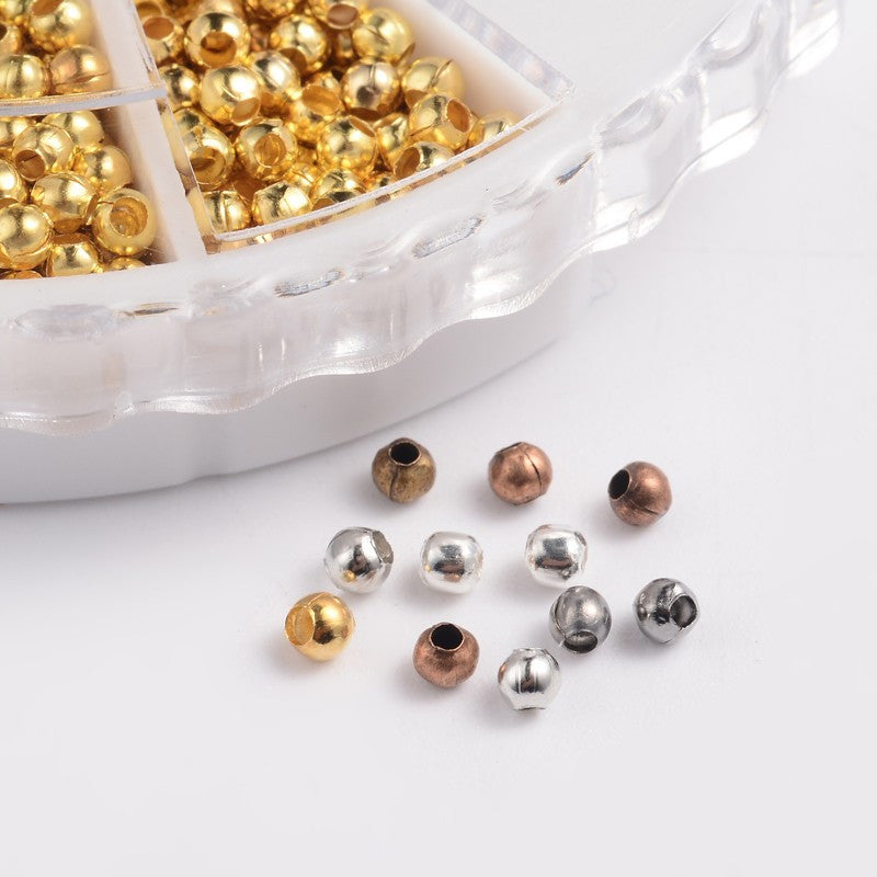 3mm Metal Spacer Beads Organizer Box.  1mm Hole. Assorted Colour Finishes.  App.