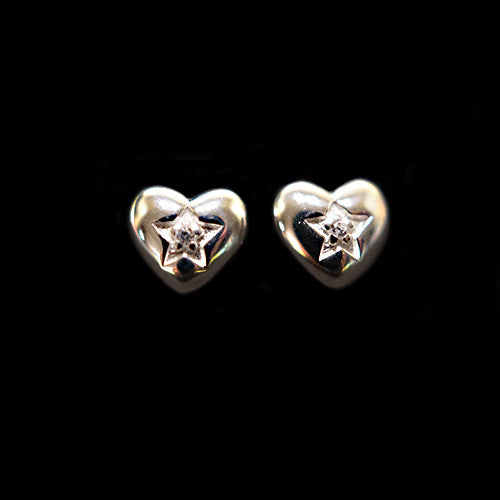 Solid Silver Heart Earrings With Faux Diamond (CZ) Sparkly Centre - bigigloo.co.uk
