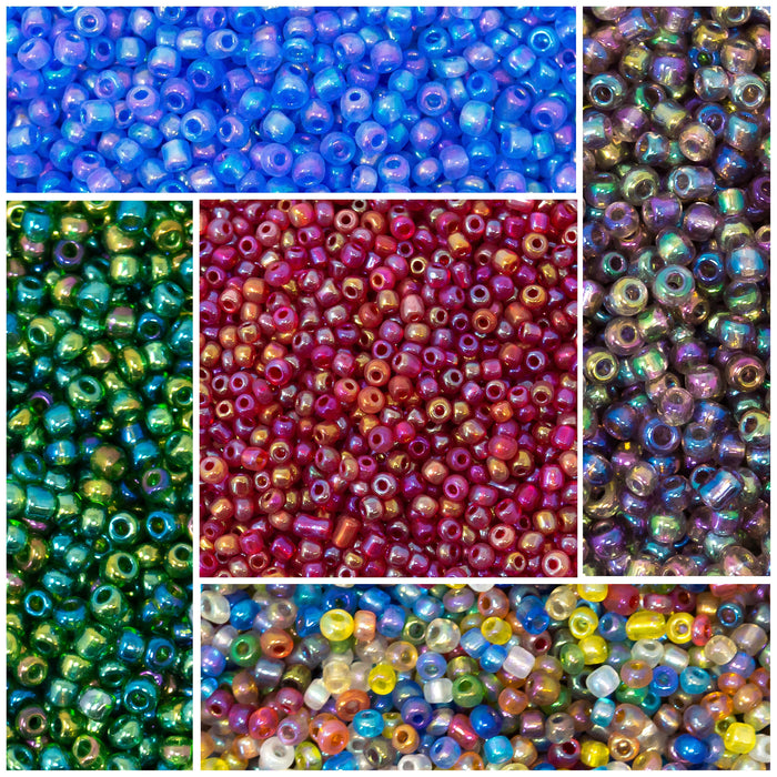 50g AB Lustred Transparent Glass Seed Beads.