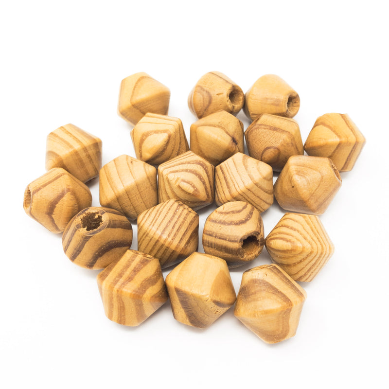 Large Natural Bicone Wooden Beads. 18mmx17mm. Pack Of 20