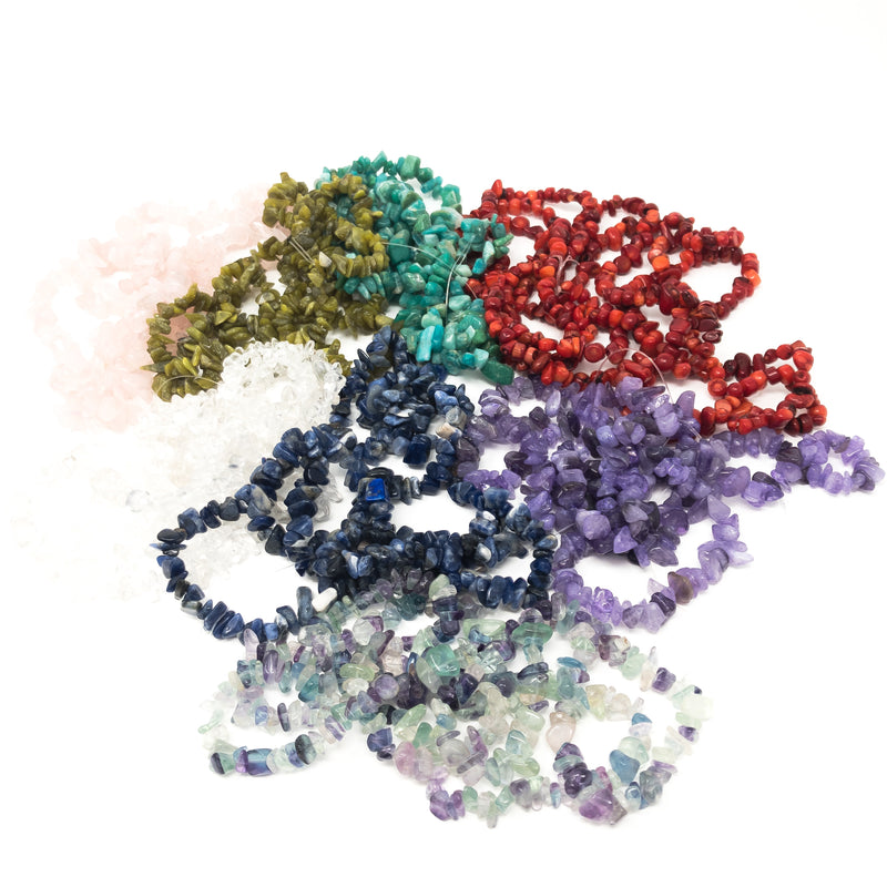 "Chip Nugget Gemstone Beads 5-8mm. Double Strand (30""/75cm). Approx 160 Beads."