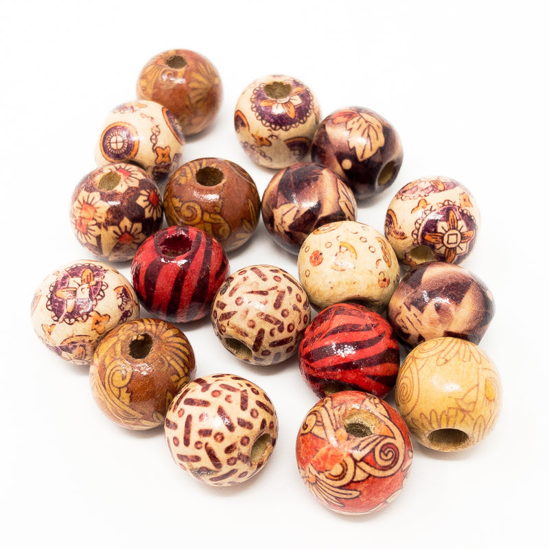 16mm Round Printed Wooden Beads x 50. Various Colours & Designs. 5mm Hole.