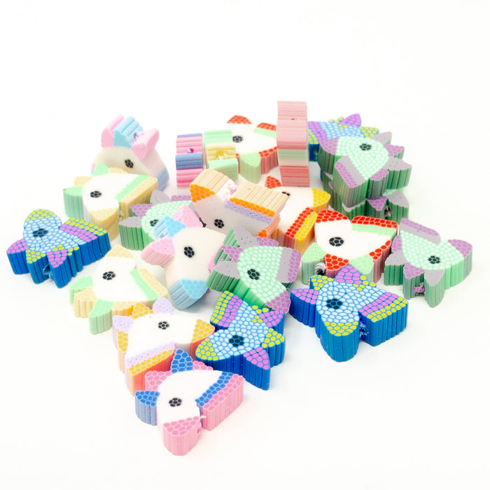 Unicorn Polymer Fimo Clay Beads x 50.  11x13mm. 1mm Hole