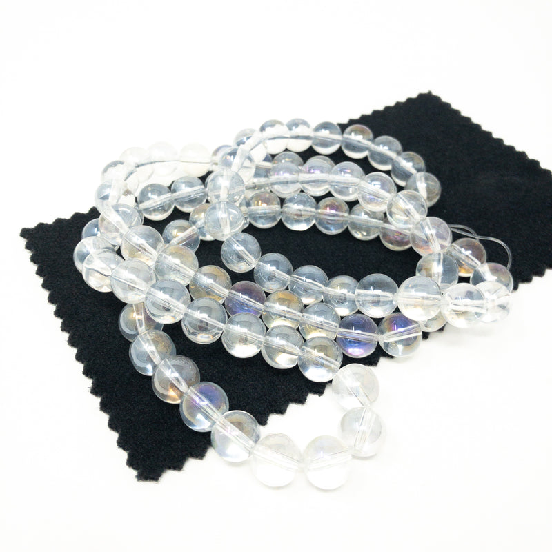 AB Rainbow Lustre Round Glass Beads. Blue, Peach, Pearl, 6mm, 8mm,10mm