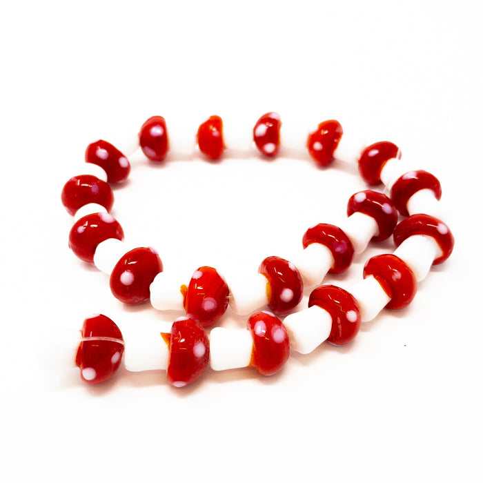 Approx 20 Mushroom Toadstool Glass Beads 16x12mm. 1mm Hole. Colour Choice