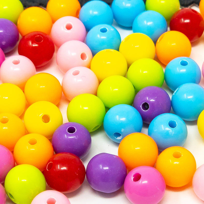 Bright Bubblegum Round Acrylic Beads. 100 x 10mm or 8mm. 200 x 6mm.  Hole 1.5mm