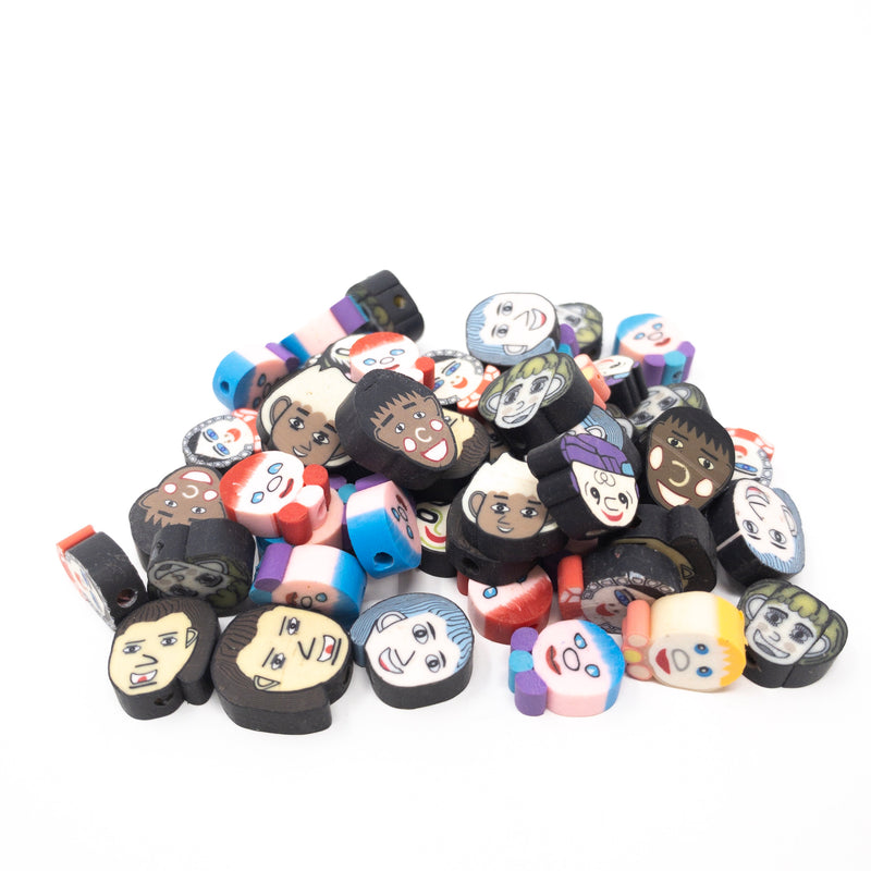 Peoples' Faces Polymer Beads-35g (App. 50 Beads)10-13mm. 1mm Hole