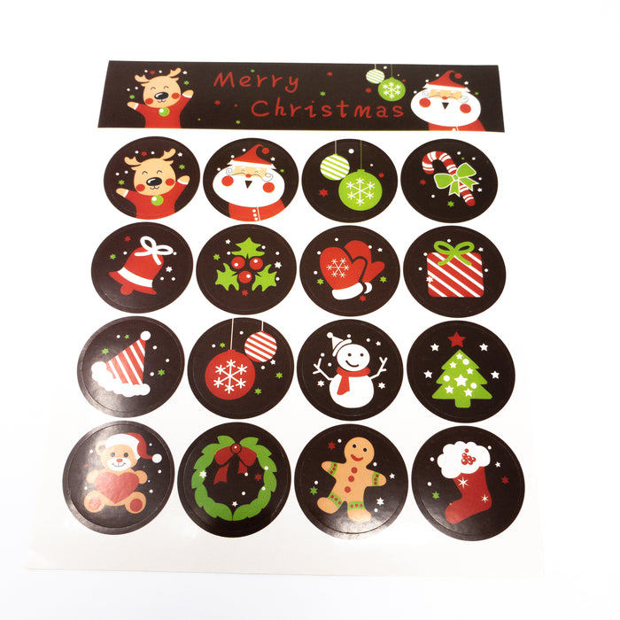 Cute 30mm Cartoon Christmas Sealing Stickers.  Pack Of 80.