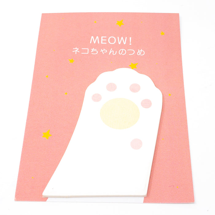 Meow Korean Cat Paw Sticky Notes. 61mm x 75mm. 30 Notes On Gift Card