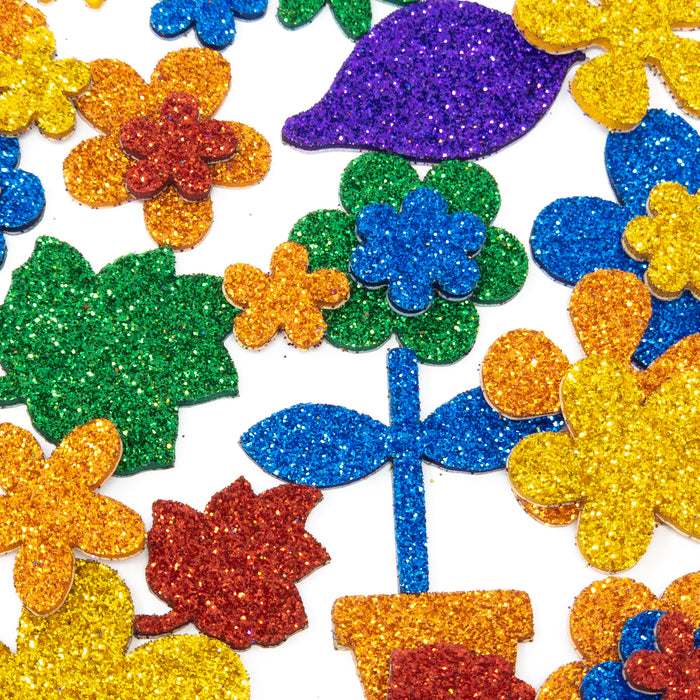 Bumper Pack Of Over 60 Glitter Flower Stickers.  15-38mm. Many Bright Colours