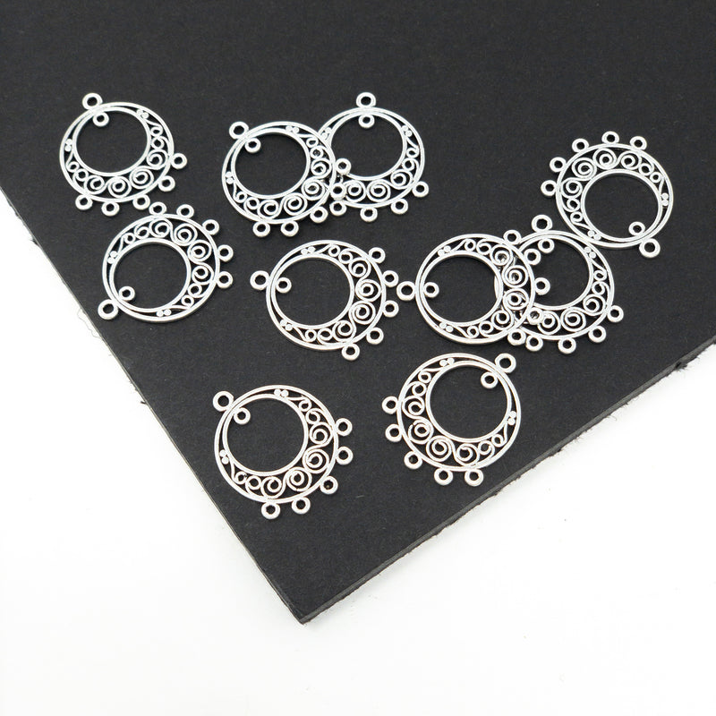 Silver Colour Chandelier Components. 24 x 20 x 1mm. 1mm Hole. 10 Pack