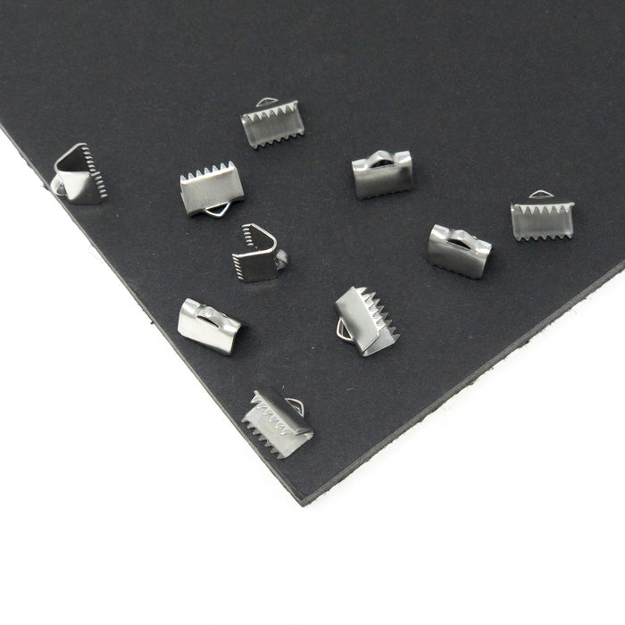 Stainless Steel Ribbon Ends x 10. 10mm Width With 2 x 4mm Hole.