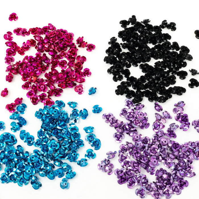 Aluminium Flower Spacer Beads. 10x6.5mm. 1mm Hole. 100 Per Pack
