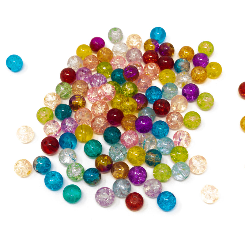 Crackle Glass Beads.  Multi Coloured. 6mm, 8mm, 20mm. Pack Of 100