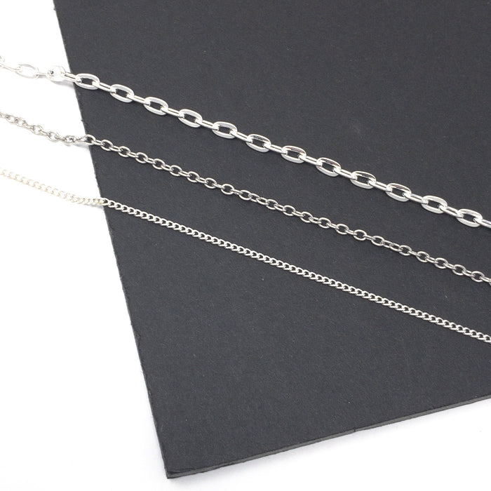 Silver Colour Chain Per Metre. Cable Or Curb.