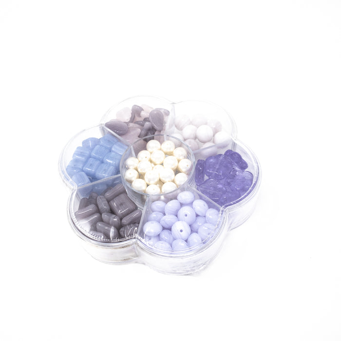 Preciosa Czech Pressed Beads In Flower Selection Box. 7 Varieties. Purple Or Blue