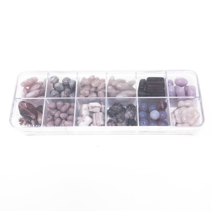 Preciosa Czech Pressed Beads Boxed With 12 Designs. Various Colours.