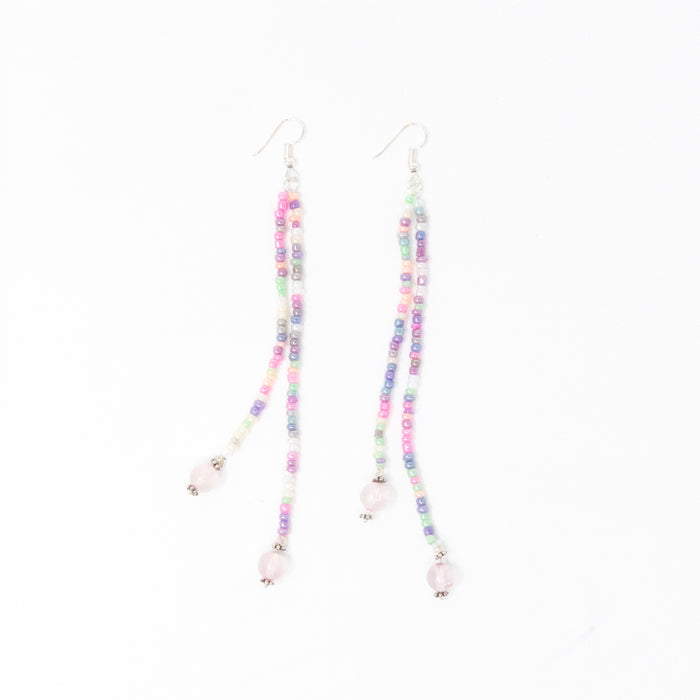 Rose Quartz And Unicorn Seed Bead Long Dangle Earrings