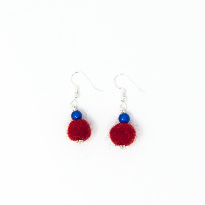 Colourful Felt Ball Drop Earrings