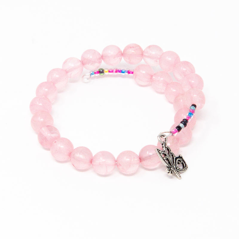 Rose Quartz and Butterfly Charm Memory Wire Wrap Bracelet