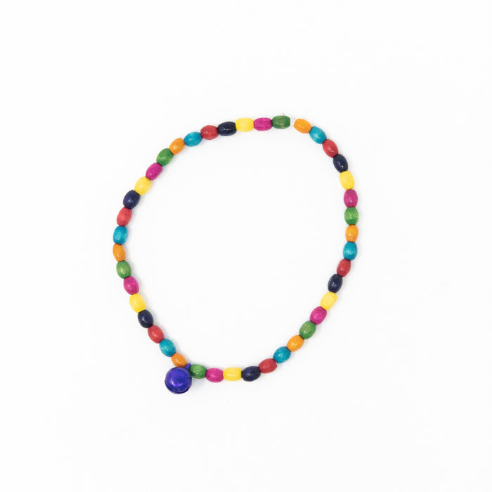 Colourful Wooden Bead and Bell Anklet