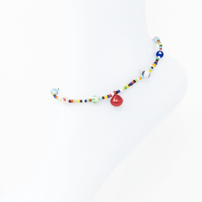 Millefiori Bead And Bell Anklet
