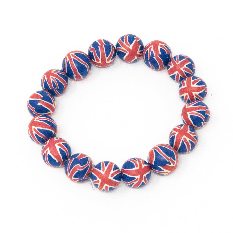 Union Jack Bead Stretch Bracelet