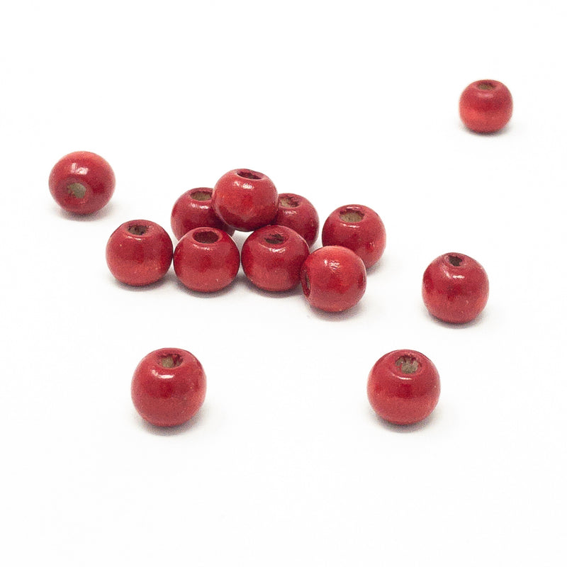 Wooden Beads In Single Bright Colours. 100x 8mm or 10mm. 3mm Hole.
