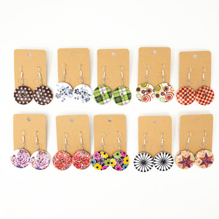 Bright Wooden Button Drop Earrings. 3cm Diameter With Silver Plated Hooks.