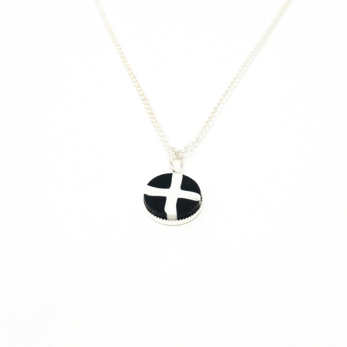 St Pirans Cornish Flag Silver Plated Necklace And Pendant. 18 Inch Chain