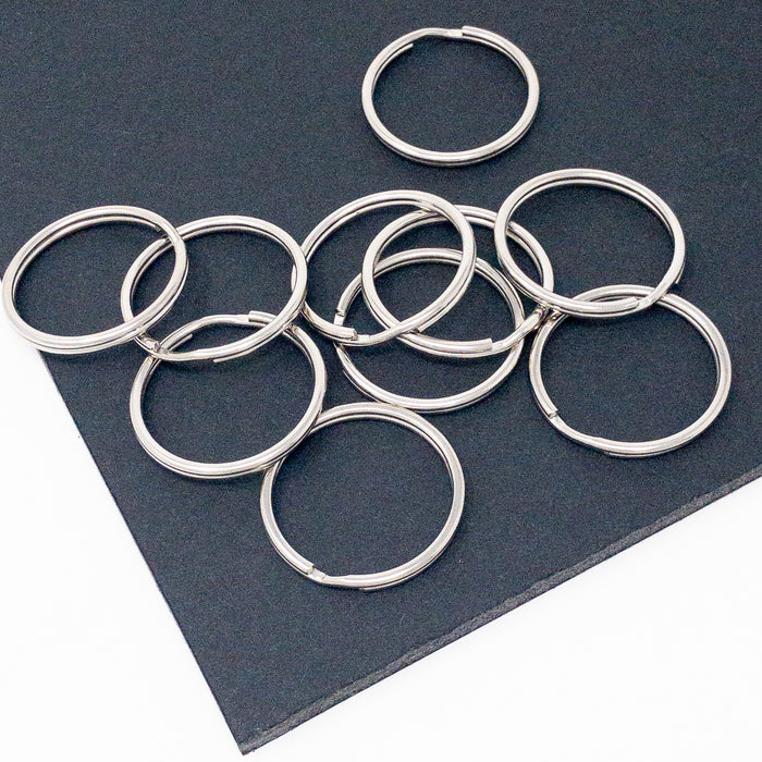 10 x 300mm Split Ring Keyrings. Silver Colour. 3mm Thickness.