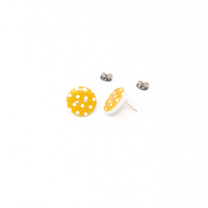 Cute 1.5cm Wooden Button Studs Various Colours.  Silver Plated Fittings.