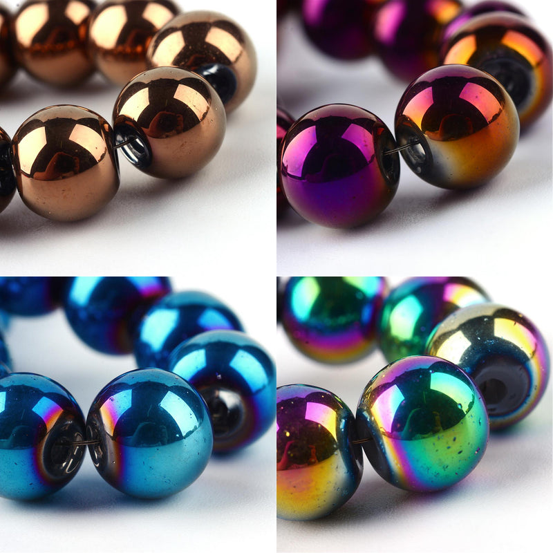 Round Electroplate Glass Beads. Copper Plate Purple Blue Rainbow. 6,8,10mm
