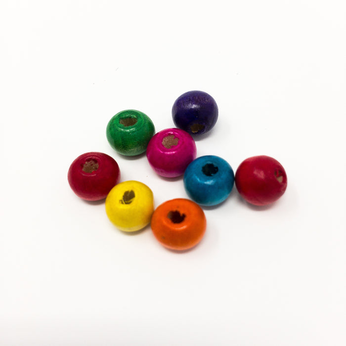 Assorted Bright Wooden Beads In Organizer Box. Approx 200. Size-8mm. Hole-3mm