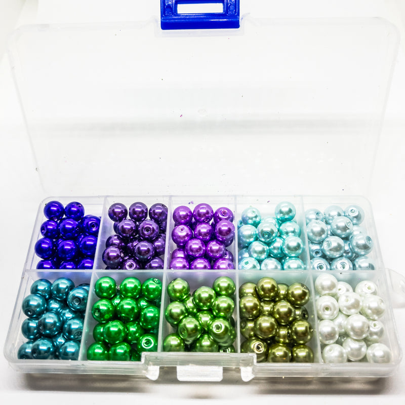 Glass Pearl Beads In Assorted Colours In Organizer. Approx 250 8mm Beads With 1m